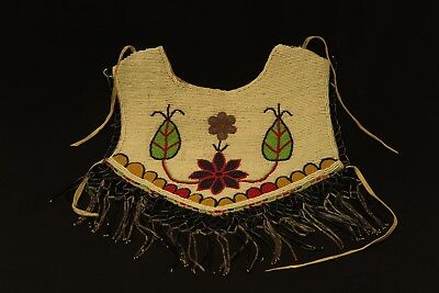 Nez Perce 1920s beaded floral design on canvas