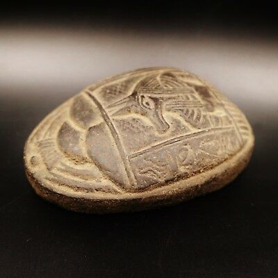 Rare Ancient Egyptian Stone Scarab Beetle Amulet Figurine, 1069-332 BC.