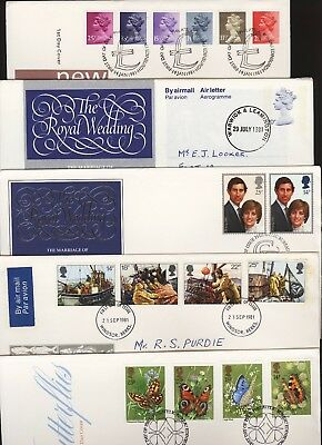 GB Great Britain 1981 FDC Five Different First Day Covers (a)