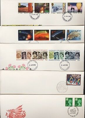 GB Great Britain 1986 FDC Five Different First Day Covers