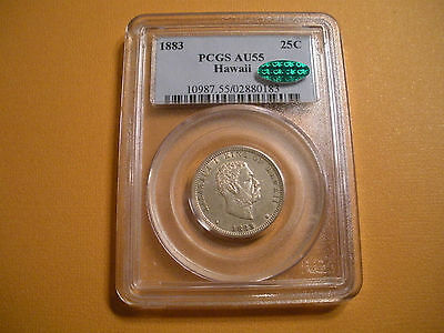 1883 Hawaii 25 Cents  Silver  PCGS AU55 CAC   ( $239.00 )
