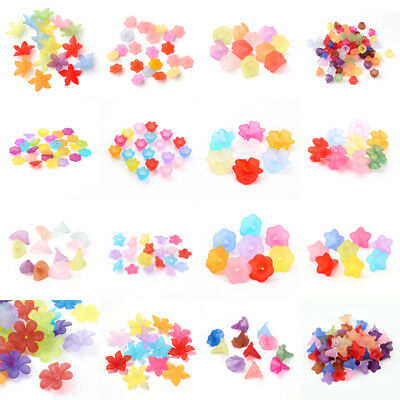 Transparent Acrylic Flower Beasd Frosted Loose Beads Caps Beading Craft 19 Style