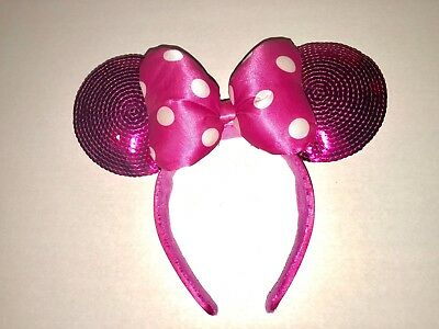 Disney Parks Hot Pink Sequin Minnie Mouse Mickey Ears Headband Bow