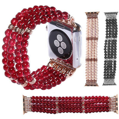 Women's Pearl Stretch Bracelet Watch Band Strap For Apple Watch iWatch 4 3 2 1