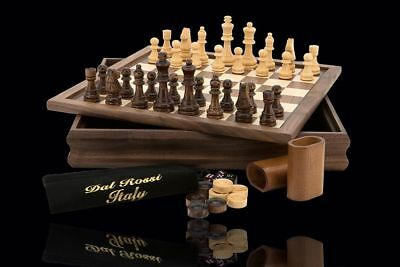 "Dal Rossi Wooden Chess Checkers Backgammon Walnut 14"" 3 in 1 Board Game New"