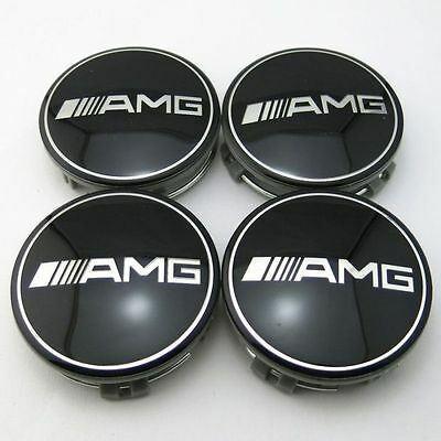 4 PCS 75mm / 3 INCH AMG Black WHEEL BADGE CENTER CAPS FOR MERCEDES BENZ E CLS C