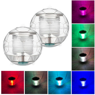 2PCS Football-shaped Solar Overwater LED Floating Light 7 Colors Pool Pond Lamps