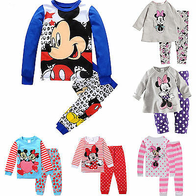 Toddler Mickey Minnie Mouse Kids Clothes Cartoon Long Sleeve Sleepwear Outfits
