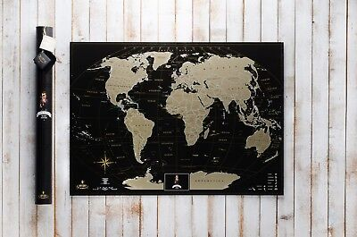 Deluxe Black Scratch off Map World Personal map Poster Travel