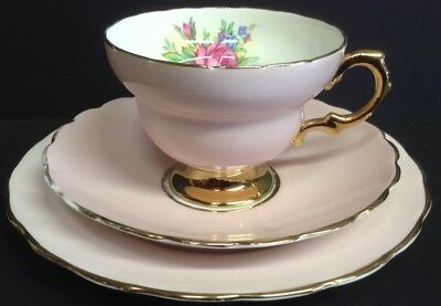Rosina China Pink and Gilt Floral TrIo