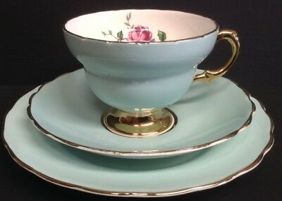 Rosina China Duck Blue and Gilt Floral Trio