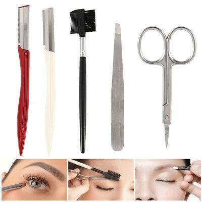5pcs sourcils kit Crayon Rasoir Scissor Stencil Trimmer Shaper Shaping Forme