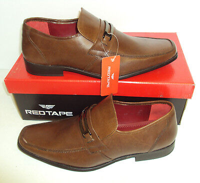 Red Tape Mens Tan Brown Leather Shoes New Slip On Smart Formal Office Size 7-11