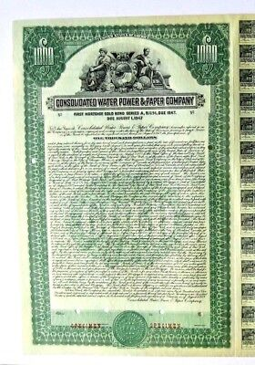 CONSOLIDATED WATER POWER & PAPER COMPANY - Wisconsin - 1928 SPECIMEN GOLD BOND