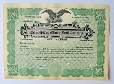 KELLER-SIBLEY ELECTRIC DRILL COMPANY - West Virginia - Stock Cert. - ca. 1909
