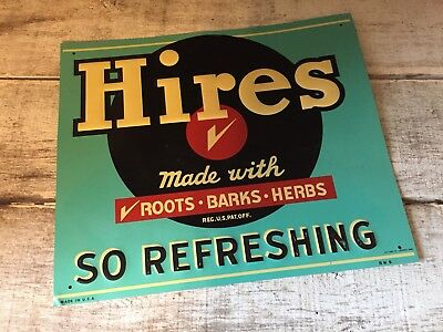 Vintage Hires Root Beer Embossed Tin Sign Made In U.S.A., BN6 11 7/8 X 14