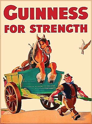 Guinness Beer Horse Cart Ireland Great Britain Vintage Travel Art Poster Print