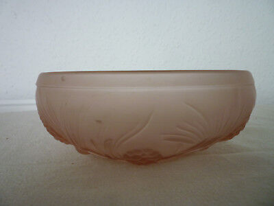 Jobling Art Deco Frosted Pink Pressed Glass Fir Cones Small Float Fruit Bowl