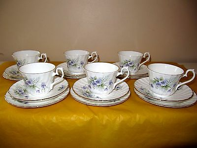 set of 6 HM ROYAL SUTHERLAND FLORAL TRIOS side plates,cups&saucers , used in VGC