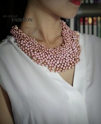 Necklace Short Large Ras neck Mini Pearl PINK Original Old Style Marriage JD1