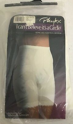 Playtex I Can't Believe It's A Girdle Long Leg Cotton Crotch 2XL 33-34 White OS