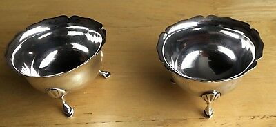 Pair Antique Solid Silver Couldron Type Salt Cellars London 1895
