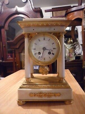 Very Pretty 19th Century French Marble And Ormolu Portico Clock