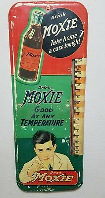 C. 40 DRINK MOXIE SODA POP advertising thermometer sign gas station oil cola car