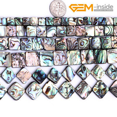 """Natural Rainbow Flat Square Abalone Shell Stone Beads For Jewellery Making 15""""CA"""