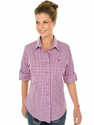 Orbis Traditional Costume Blouse Checkered Long Sleeve with Embroidery Berry