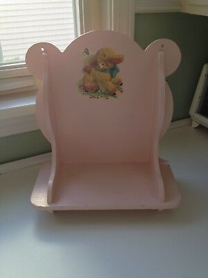 Darling Vintage Painted Wood Shelf Decor for Nursery Baby's Room Pink with Lamb
