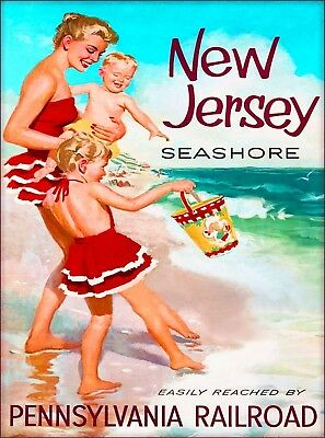 New Jersey Seashore Mother & Children Vintage United States Travel Poster Print