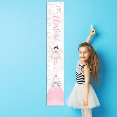 Personalised Fairy Princess Height Chart for Children Girls Any Name Gift Idea