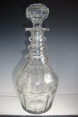 Antique 19th c Blown Cut Glass Ovoid Decanter Bottle 3 Ribbed Neck Rings