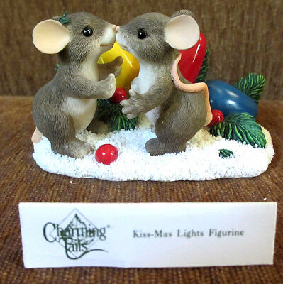 "CHARMING TAILS 2000 ""KISS-MAS LIGHTS"" Christmas Figurine #87/205 - NEW IN BOX!"