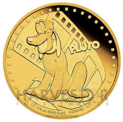 Disney - Pluto - Mickey And Friends - 1/4 Oz. Gold Proof - With Ogp & Coa