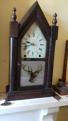 Antique  8 Day  american Steeple clock
