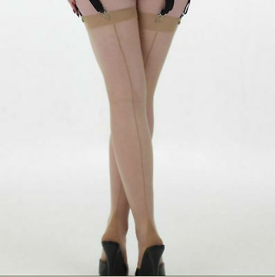 Sissy Vintage Glossy Back Seam Seamed Stockings Natural Tan St Michael M&S XL