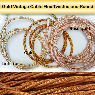 Twisted Silk Braided Vintage Fabric Coloured Lighting Cable Flex 3/2 core 0.75mm