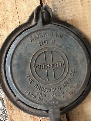 Griswold #8 American Cast Iron Waffle Maker Iron Baker Low Base Vintage