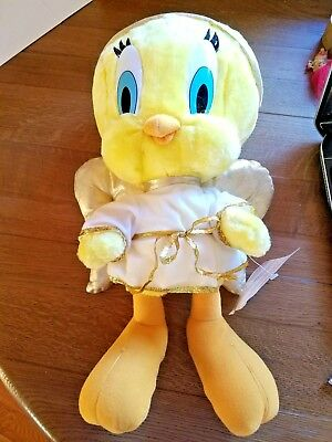 Vtg Looney Tunes Warner Bros Tweety Bird Plush Angel Stuffed Animal Gold Wings