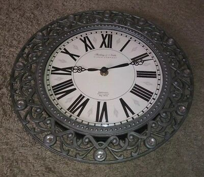 Sterling Amp Noble Clock Mfg No 9 24 Large Round Wooden