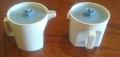Vintage Tupperware Creamer and Sugar With Lids Blue & Cream 1414-2 & 1415-4