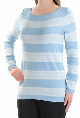 e52276d758d TOMMY HILFIGER  69 Womens New 1195 Light Blue Striped Long Sleeve Top M B+B