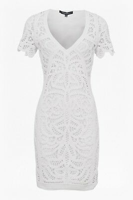 ec5a0d6be82 FRENCH CONNECTION ARTA Lace Ruffle White Dress, Size UK8, BNWT ...