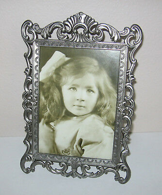 Victorian Style Scroll Picture Frame 5x7 Photo Tabletop Easel Flocked Back Metal