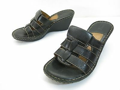 1556b85a7ce61f Born Wedge Sandals Womens 6 Black Leather Comfort Slip On Mid Heel Slides  Shoes