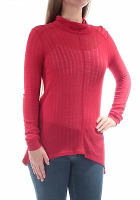 053b708a89d7af LUCKY BRAND $50 Womens New 1285 Red Sheer Without Cami Turtle Neck Top L B+