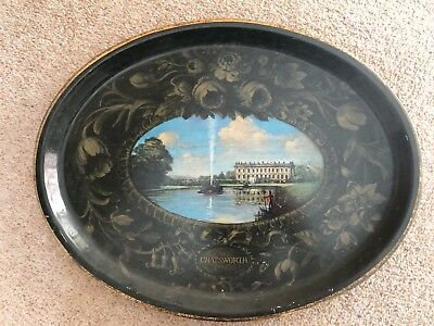 Large Oval Chatsworth House UK Tin Metal Serving Drinks Tray Black and Gold