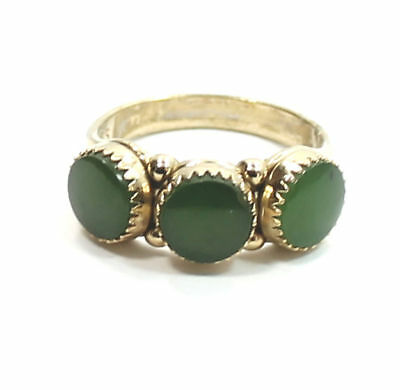 Antique Green Onyx Gold Plated .925 Sterling Silver Estate Ring Size 7
